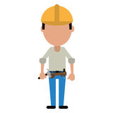 Construction man helmet tool belt and helmet-cut line Stock Photo
