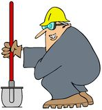 Construction man and his shovel. This illustration depicts a man in coveralls squatting down and holding a shovel Royalty Free Stock Image