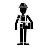 Construction man holding box pictogram Stock Photo