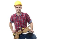 Construction man isolated, buider. Bricklayer with helmet and belt of tools isolated in background white royalty free stock photos