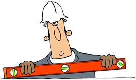 Construction man with a level. This illustration depicts a man in coveralls and hard hat using an orange bubble level Royalty Free Stock Images