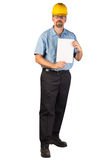 Construction Man Standing and Holing a Blank Document Royalty Free Stock Images