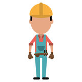 Construction man with tool belt gloves Royalty Free Stock Images