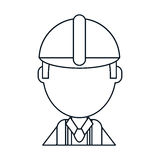 Construction man wearing helmet thin line Stock Images