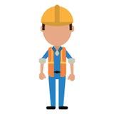 Construction man wearing vest helmet protection. Vector illustration eps 10 Royalty Free Stock Image