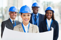 Construction manager blue print Royalty Free Stock Images