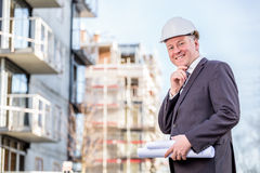 Construction manager with blueprints Stock Image