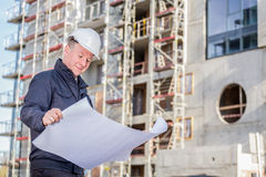 Construction manager with blueprints Stock Photography