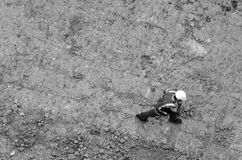 Construction manager or building site foreman worker. Aerial view of an unrecognisable construction manager or building site foreman worker in a construction royalty free stock photos