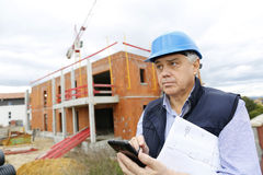 Construction manager on building site Royalty Free Stock Photography
