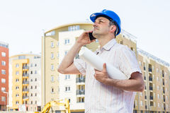 Construction manager holding project Stock Images