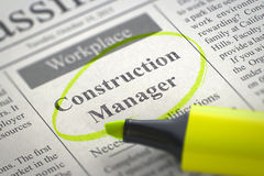 Construction Manager Job Vacancy. 3D. Newspaper with Advertisements and Classifieds Ads for Vacancy Construction Manager. Blurred Image. Selective focus. Job Stock Images
