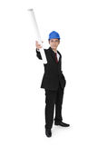 Construction manager pointing with paper Stock Images