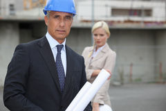 Construction manager on site Royalty Free Stock Images