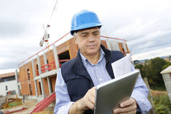 Construction manager with tablet Stock Photography