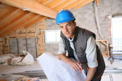 Construction manager working on a plan stock images