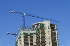 Construction of many storeyed building Royalty Free Stock Photo