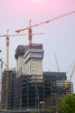 In the construction of many-storied buildings Royalty Free Stock Photo