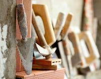 Construction mason cement mortar tools Royalty Free Stock Photos