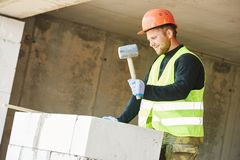 Construction mason worker bricklayer Stock Image
