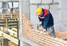 Construction mason worker bricklayer Stock Images