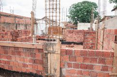 Construction of a masonry house. Construction, land under construction of a masonry house. Structure of reinforced concrete. House made of bricks, steel rebars stock image