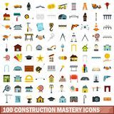 100 construction mastery icons set, flat style. 100 construction mastery icons set in flat style for any design vector illustration vector illustration