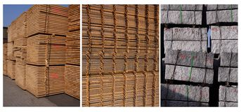 Construction material. Several construction materials: sawn timber, steel mats and granite Royalty Free Stock Photo