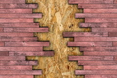 Construction material for finishing the floor. Construction material, wooden boards for finishing the floor montage on osb surface royalty free stock photo