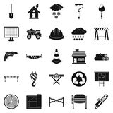 Construction material icons set, simple style. Construction material icons set. Simple set of 25 construction material vector icons for web isolated on white Stock Image