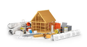Construction materials. Construction materials, building of a wooden frame placed on the rolls of drawings isolated on white. 3D illustration Stock Photo
