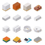 Construction materials isometric icon set. Concrete products, bricks, aerated concrete blocks, roofing and insulating materials, vector graphic illustration Royalty Free Stock Photo