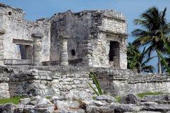Construction maya antique dans Tulum, Mexique Images libres de droits