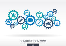 Construction mechanism. Abstract background with connected gears Royalty Free Stock Image