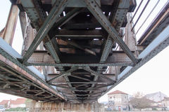 Construction of metal bridge in the city Stock Images