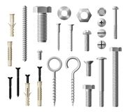 Construction metal fasteners screws and bolts. Construction fasteners isolated realistic set of screws, bolts and nuts. Vector metallic lag screws, bolts and hex royalty free illustration