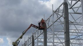 Construction of a metal frame plant stock image