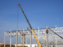 Construction of a metal frame plant stock photo