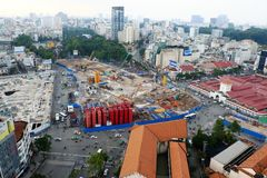 Construction metro line at downtown. HO CHI MINH CITY, VIET NAM- OCT 20, 2017: Big works at downtown, construction metro line for urban transportation Royalty Free Stock Photo