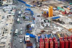 Construction metro line at downtown. HO CHI MINH CITY, VIET NAM- OCT 20, 2017: Big works at downtown, construction metro line for urban transportation Stock Images