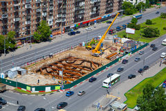 Construction of the metro line Stock Image