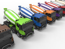 Construction mixer trucks diversity Stock Photo
