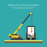 Construction of mobile applications, crane. flat. Construction of mobile applications using mobile crane. illustration in a flat style Stock Photos