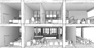 Architectural sketch drawing building model royalty free stock images