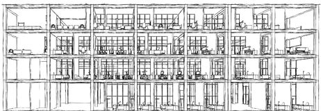 Architectural sketch drawing building model Royalty Free Stock Image
