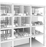Architectural sketch drawing building model Stock Image