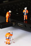Construction model workers USB cable C Stock Photos