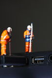 Construction model workers USB cable D Stock Photography