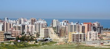 Construction of modern buildings. Construction of modern building in front of the Meditterian Sea (Lebanon Royalty Free Stock Photo