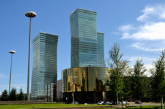 The construction of modern buildings in Astana. Kazakhstan stock images